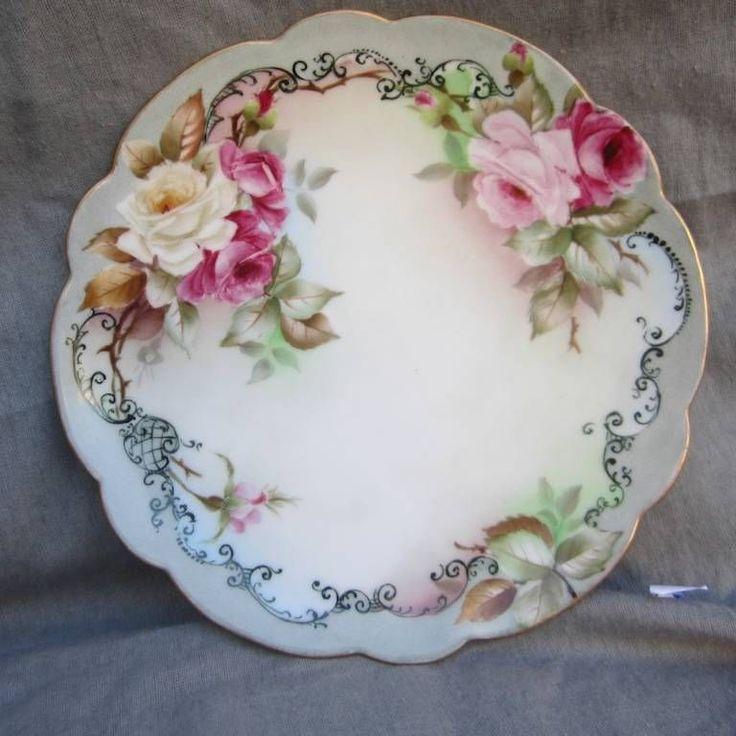 Lovely Antique Limoges France Signed Roses Gold Trim Porcelain Plate Wall Decor | eBay