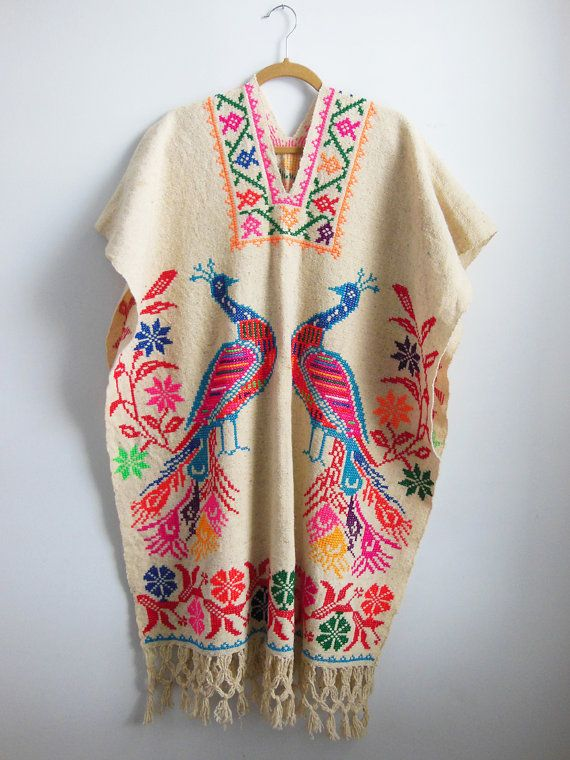 Classic Bohemian Vintage Hand Embroidered Floral Peacock Poncho Cape Huipil Natural Cotton Folk Wearable Art