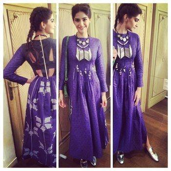 Sonam kapoor in our Hooked purple handwoven jamdani maxi dress