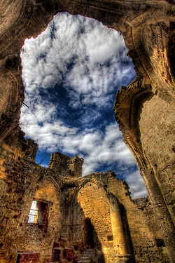 "Dramatic shot of a heavenly view! Used to be the roof of a castle in Valkenburg, Netherlands. ""There used to be a roof on the Lord's bedroom"" - photo by Wameq R"