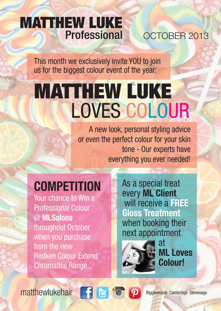 Do you colour your hair? You'll love ML LOVES COLOUR at ML salons in Beds, Herts and Cambs this Autumn!