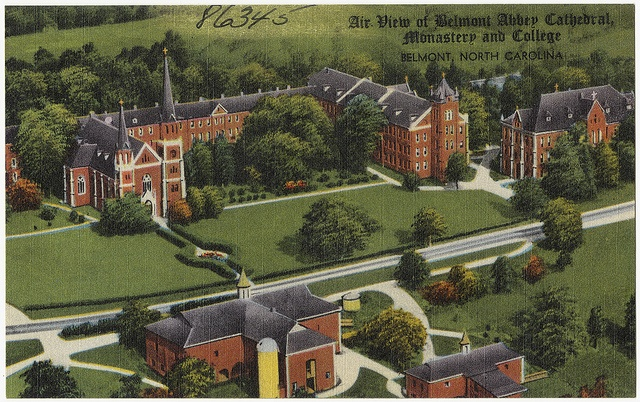Belmont Abbey Cathedral, Monastery, and College, Belmont, NC  postcard circa 30's to 40's