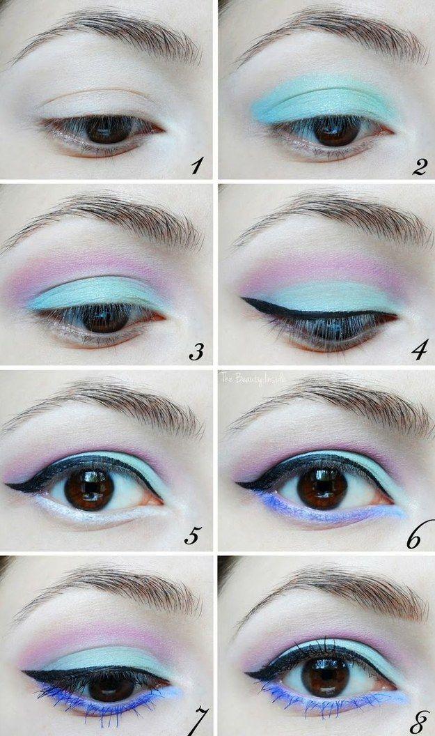 Pero puedes combinar el delineador negro y el lápiz labial con un grupo de sombras color pastel…   Cómo ser un gótico que usa colores pastel