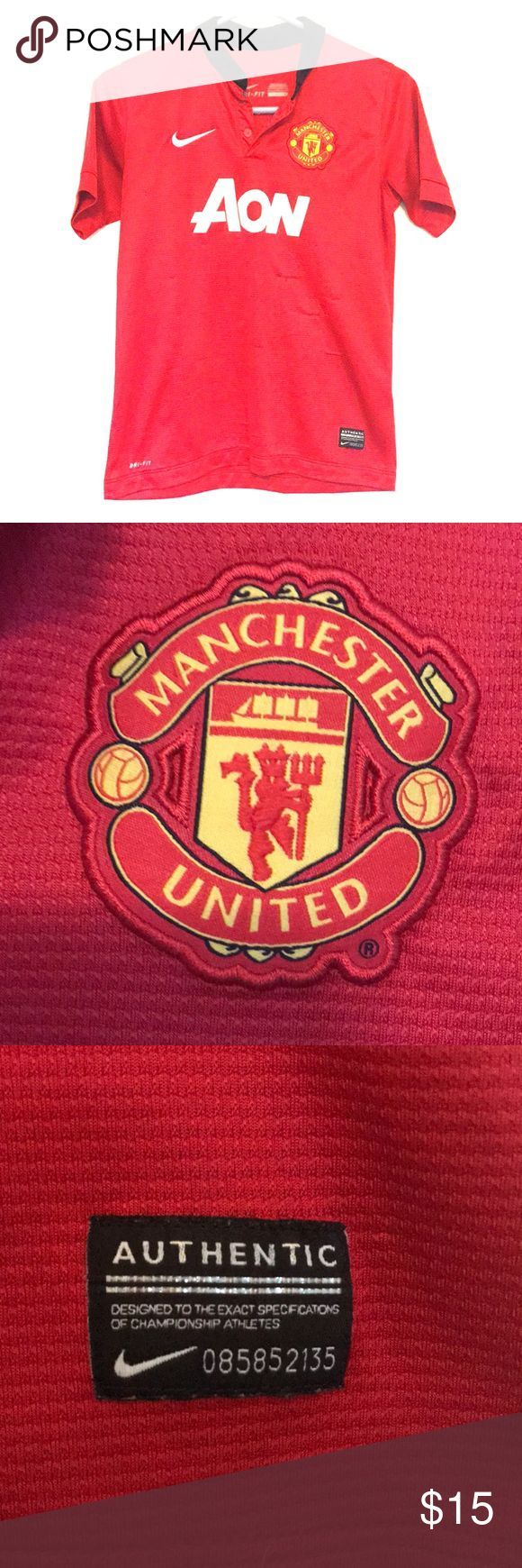 Authentic Manchester United Soccer ⚽️ Jersey Authentic Manchester United Soccer ⚽️ Jersey.  Has some pulls in the fabric (see pics). Price reflects that   Nike Dri Fit. No stains or tears. Comes from a non smoking home Nike Shirts & Tops