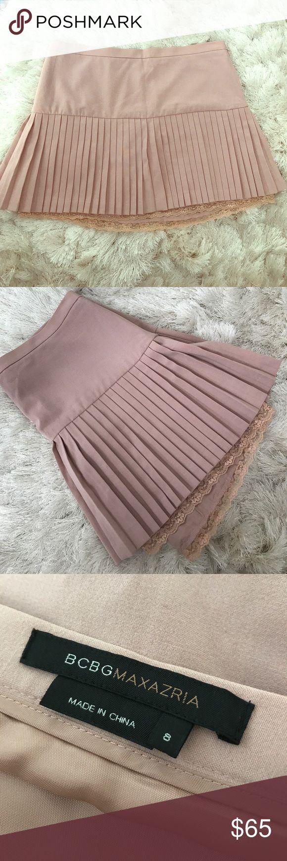 BCBG Pleated Skirt Blush Pleated mini skirt with lace trim. Never worn! BCBGMaxAzria Skirts Mini