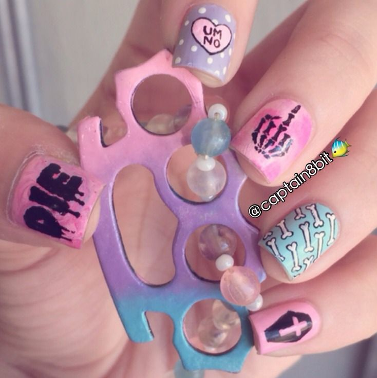 pastel goth nails - Google Search