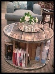 If you have access to a large cable spools, take one and some use wooden dowels. You can turn it in to a creative coffee table.: Coffee Tables, Cable Reel, Idea, Spools Tables, Books Tables, Wooden Spools, Memorial Tables, End Tables, Cable Spools