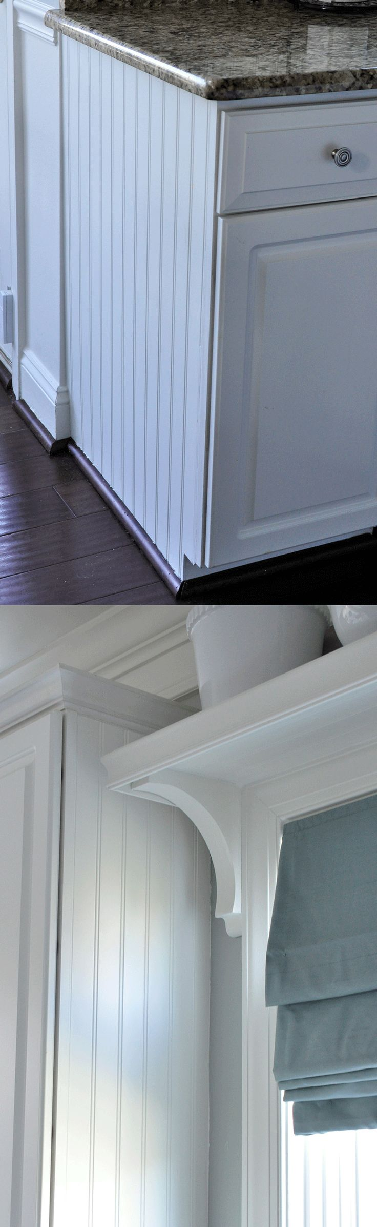 Love the beadboard on the side of the cabinets! Dressing up and finishing the space!