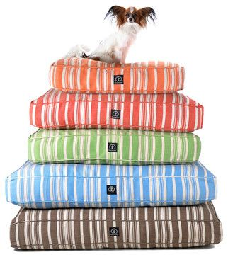 Hemp Stripe Dog Bed, Red transitional-dog-beds