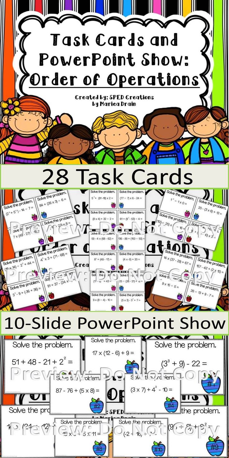 Order Of Operations: Task Cards And PowerPoint Show