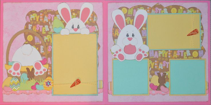 Easter layout done with egg shaped bunny 2013 Scrappy Dew file