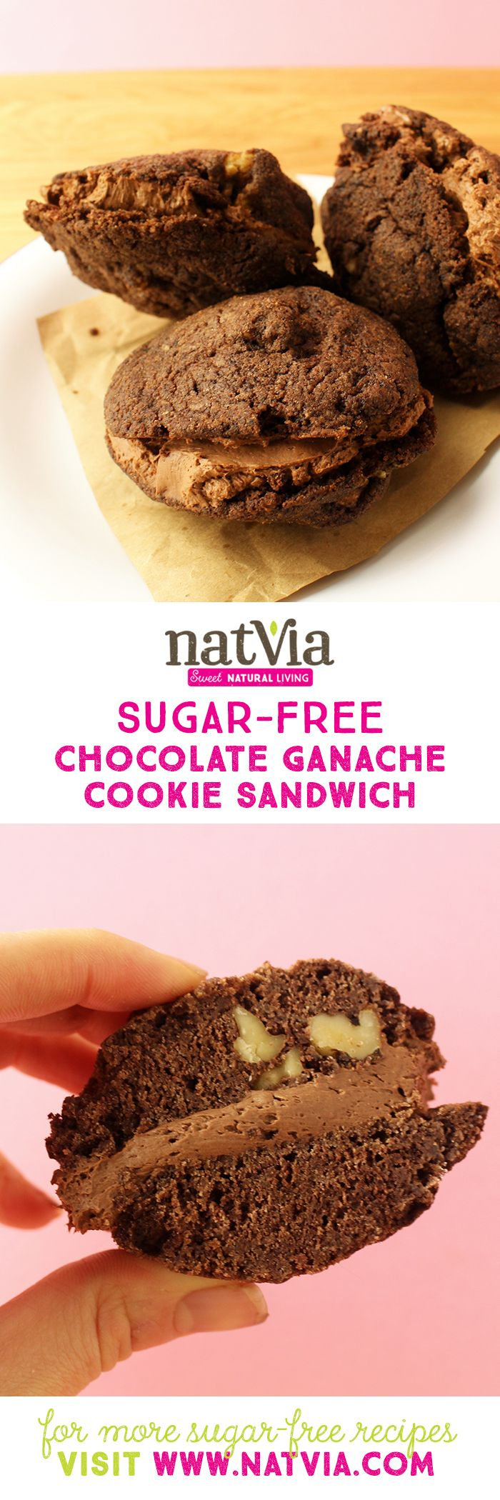 Indulge in one of our favourite #chocolate #cookie #recipes we've EVER made. Adding some extra crunch into an already tasty #cookie base we've added some walnut to perfectly complement the cream #cheese, #GANACHE FILLING in the middle! #healthy #sugarfree #natvia