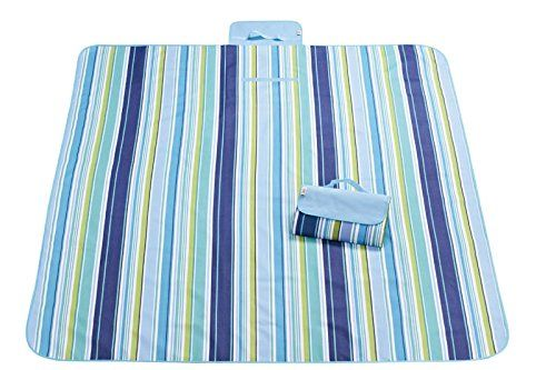 Gesanflower Picnic Blanket Waterproof Outdoor Blanket Mat Beach Blanket Mat Camping Blanket For Picnic, Beach, Traveling, Camping, Hiking (Blue Strip) ** You can find out more details at the affiliate link of the image.
