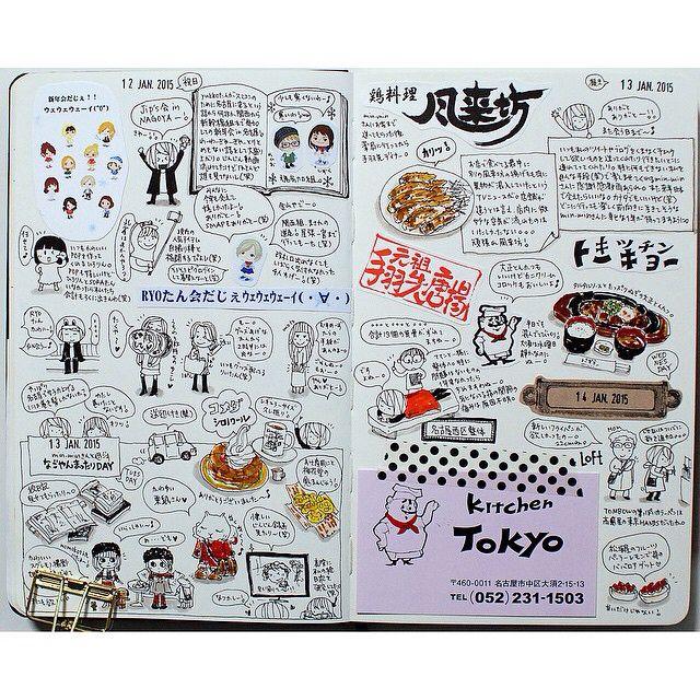 2015-01-12〜14 見開き。日本滞在中はカラフルだなぁ(。´◡`。)♡ #moleskinejp #moleskine #絵日記倶楽部…
