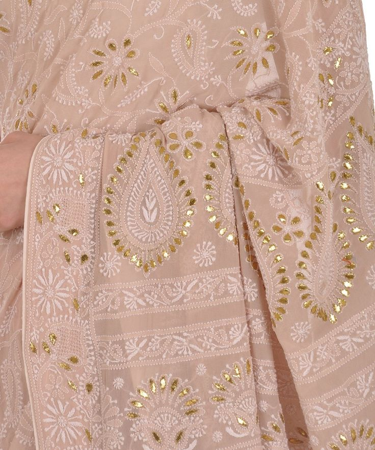 Oyster Pink Intricate Chikankari With Gota Patti Pure Georgette Saree