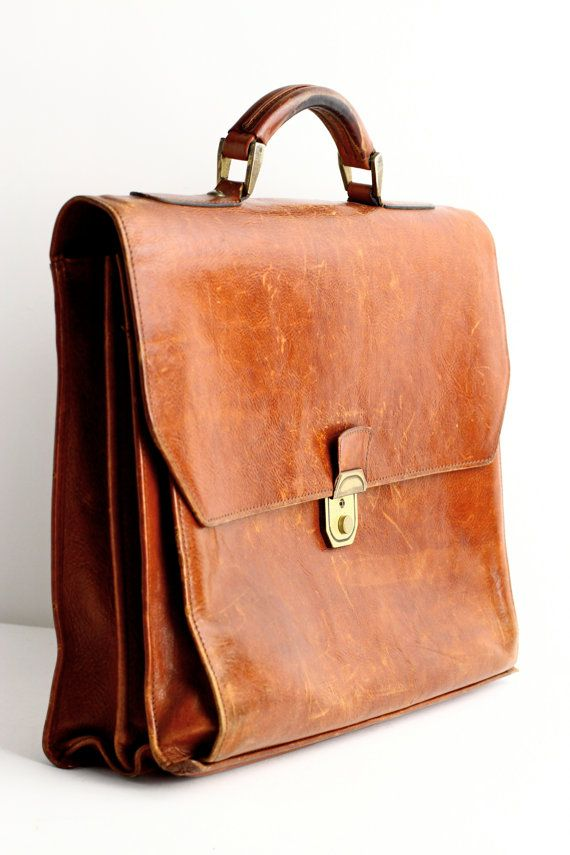 Vintage Leather Briefcase or School Bag Laptop Case by CrolAndCo