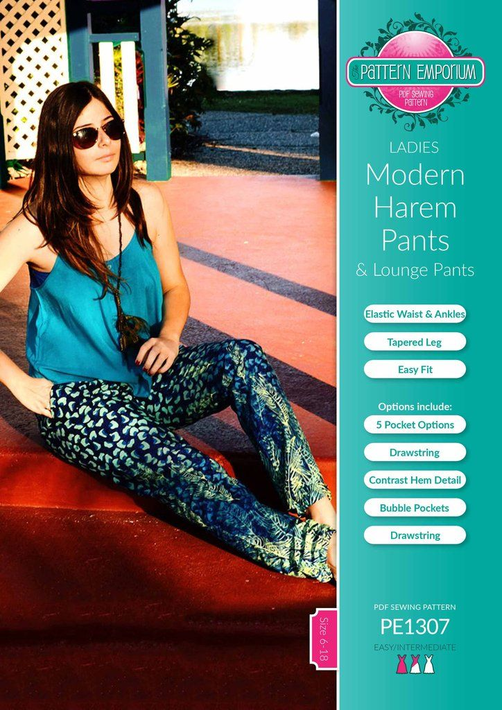 Make yourself some on-trend casual harem or hogger pants are no longer just boho. Joggers are not just for sport. They can be chic, fun, practical, relaxed, sexy. It all depends on your fabric, your styling & your mood. The ladies pants sewing pattern is from our very popular Harem Pants series. The Harems Pants range of sewing patterns have continued to hold the #1 spot since their release because they are all fast & easy to sew, fit well and are extremely ve...