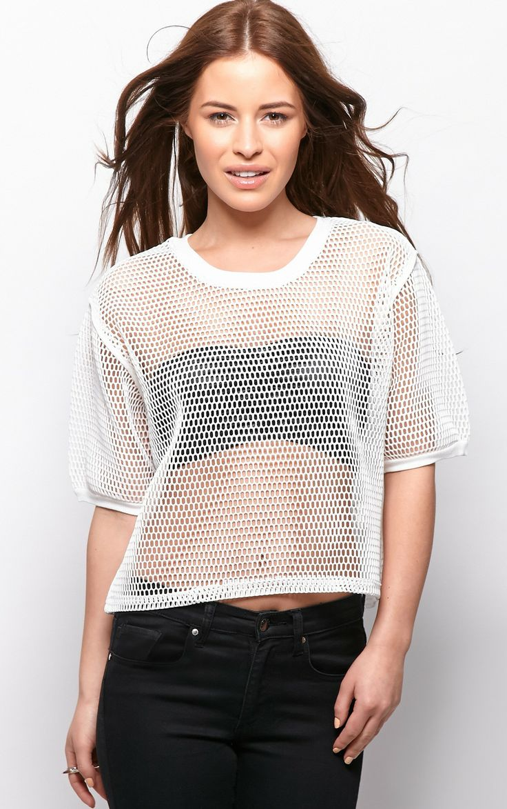 Nicola White Premium Fishnet Crop T-Shirt - T-shirts - PrettyLittleThing.com | PrettyLittleThing.com