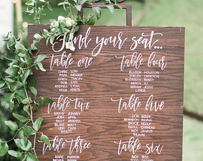 Tabla de asiento de la boda | Plan de mesa | Aspecto de madera | Digital | Para imprimir | A