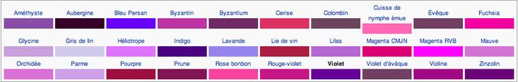 teintes de violet Mauve, violine, prune, aubergine, lilas, byzantin, persan, magenta, glycine, lie de vin