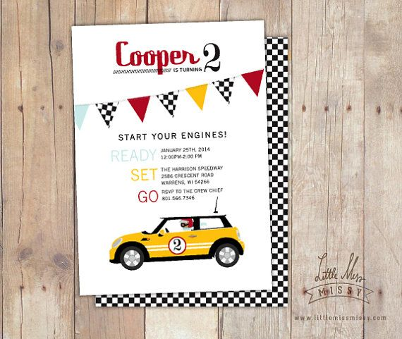 The Coop! Vroom Vroom! Darling Mini Cooper invite for your birthday, childs birthday or baby shower.    Listing is for a 5x7 Invite PDF