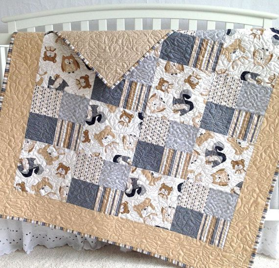 Patchwork Baby Quilt Featuring Wee Woodland By