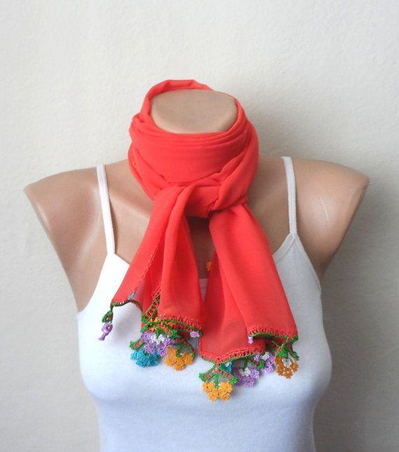 orange scarf boho scarf virgin cotton scarf shawls wrap yemeni
