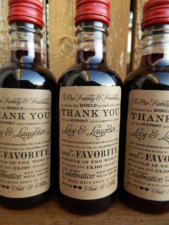 Mini Wine Bottle Labels Wedding Favor by paperandlaceshop on Etsy