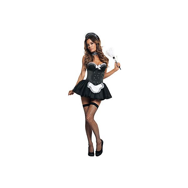 Sexy Seductive French Maid Costume for Adults- Party City ❤ liked on Polyvore featuring costumes, white costume, feather costume, maid halloween costume, maid costume and adult halloween costumes