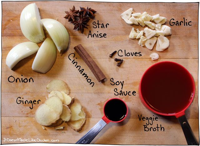 Perfect vegan pho broth: to make quick vegan pho, just quarter an onion, roughly chop the garlic, and slice the ginger into coins. Add the broth, onion, garlic, star anise, whole cloves, ginger, and cinnamon to a large pot and bring to a simmer. Cover and let simmer for 20-30 minutes.
