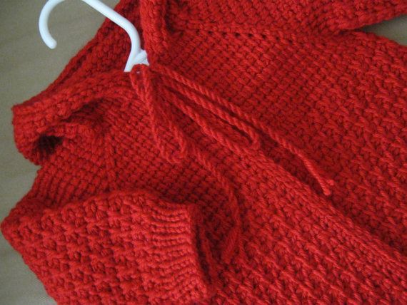 Red Crochet Baby Sweater with Hood for Boy or by ForBabyCreations