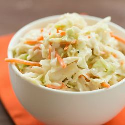 Basic Creamy Coleslaw Dressing Recipe | Brown Eyed Baker¾ cup mayonnaise 4 tablespoons malt, cider or rice vinegar 1 tablespoon granulated sugar 1 tablespoon light brown sugar Salt and pepper, to taste 16 ounces coleslaw mix (combination of shredded cabbage and carrots)