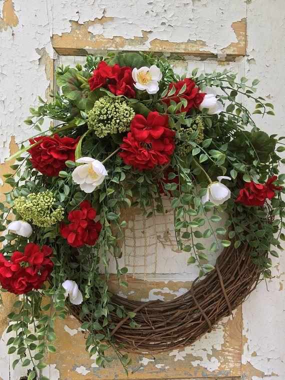 Summer Wreath for Front Door Red Geranum Wreath Spring