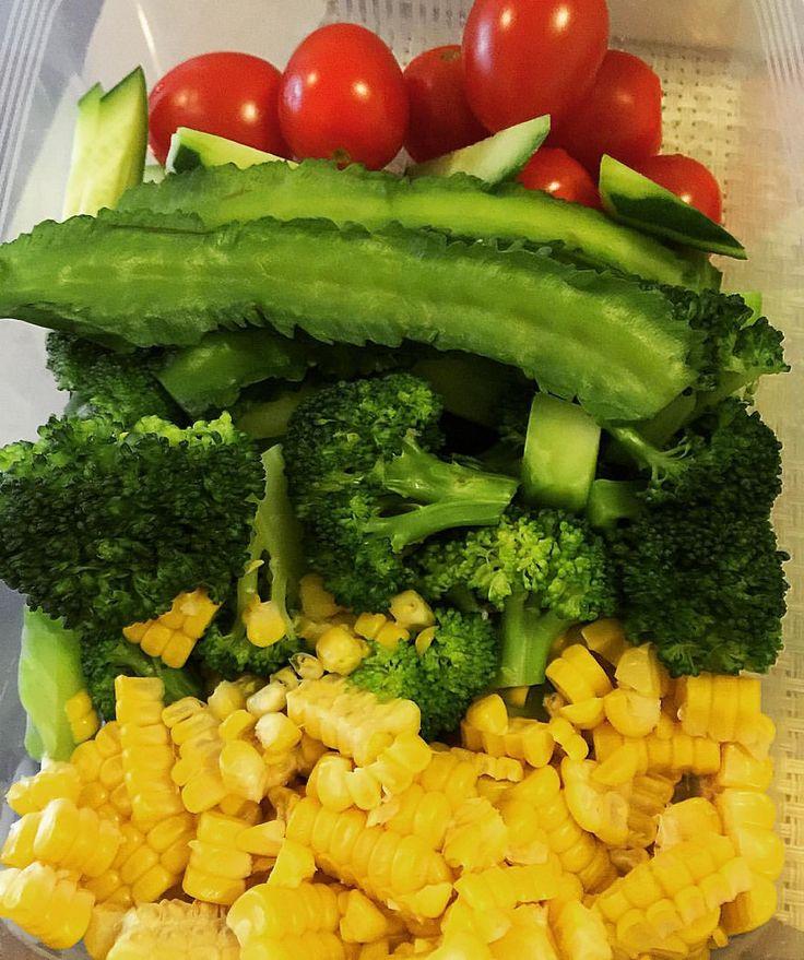 Prep for Salad _ #vegetable #nutrition #downtoearthfs #corn#tomato#broccoli# cucumber#salad#healty