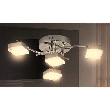 plafn de luces con sistema de led integrado realizado en metal y difusor por
