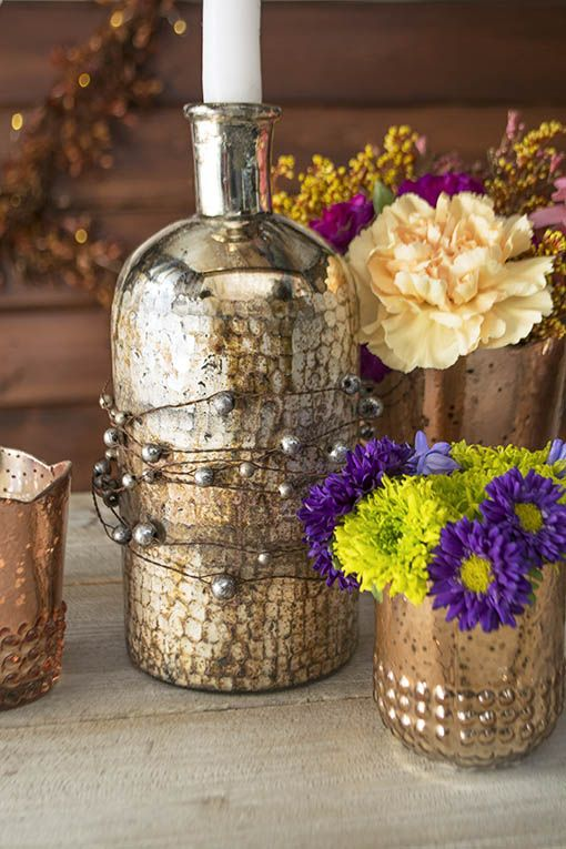 Embellish our mercury glass collection, such as our apothecary bottle, with our beaded garland for your fall display.