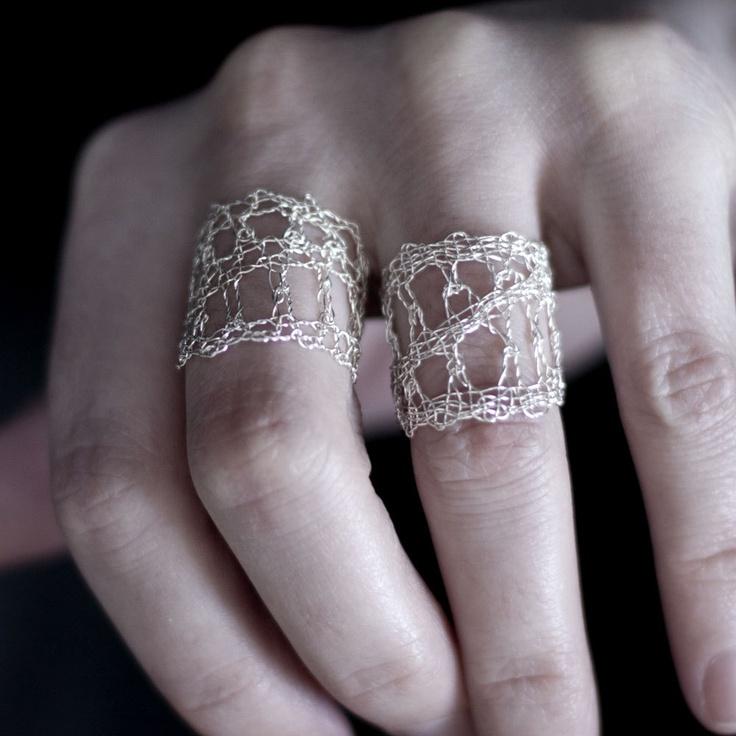S18 - Fine Silver Lace Ring - bobbin lace. $240.00, via Etsy.