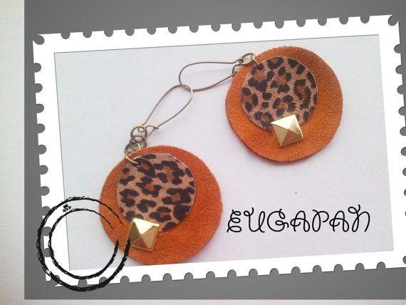 leather handmade earrings by LeatherEugapan on Etsy, €16.00