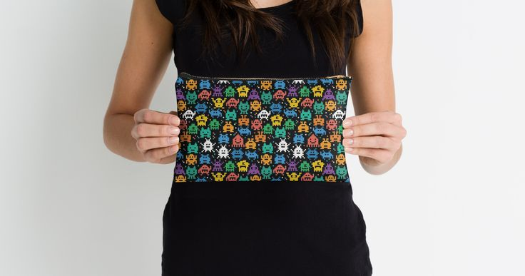 Pixelated Emoji Monster Pattern Illustration by Gordon White | Emoji Monster Studio Pouch Available Held @redbubble --------------------------- #redbubble #emoji #emoticon #smiley #faces #cute #addorable #pattern #studiopouch #pouch #bag