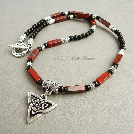 Mens Necklace Black and Red Gemstone with Celtic by mamisgemstudio, $34.95
