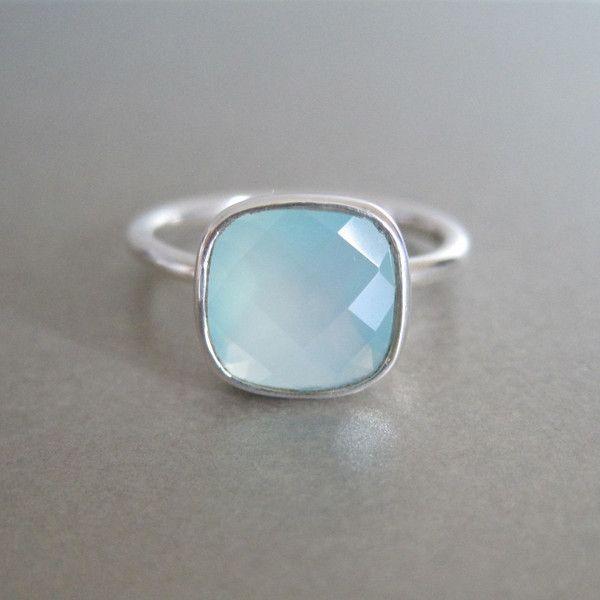 Sterling Silver Aqua Chalcedony Ring - www.tangerinejewelryshop.com