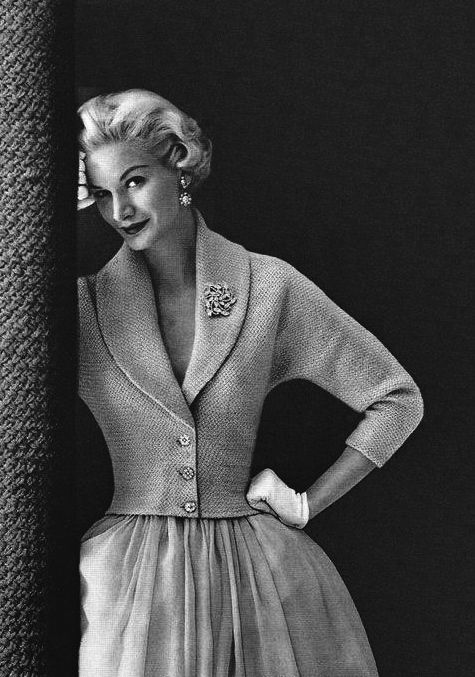 Sunny Harnett wearing knitted jacket 1950's - Knowing when to speak or just smile knowingly is Being A Woman