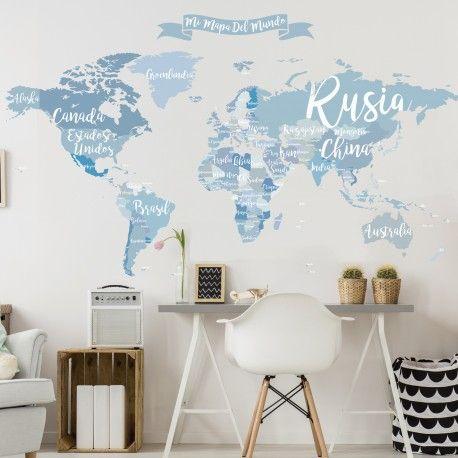 vinilo decorativo mapamundi nombre de países