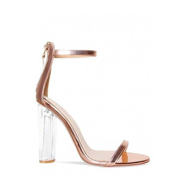 Alora Rose Gold Perspex Barely There Heels : Simmi Shoes ($9.08) ❤ liked on Polyvore featuring shoes, lucite shoes, rose gold shoes, block shoes, acrylic shoes and color block shoes