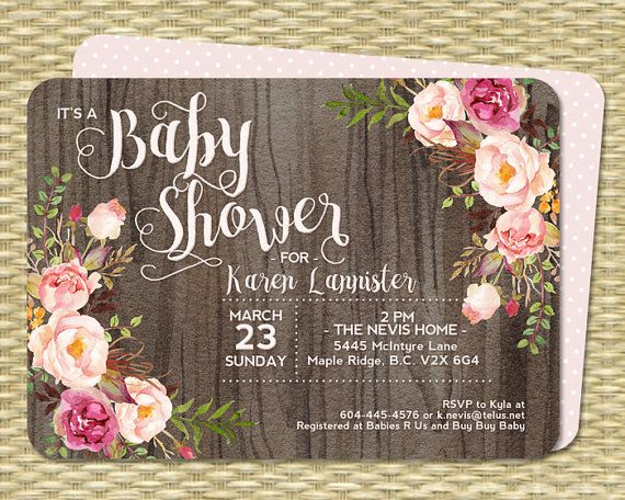 Baby Shower Invitation Baby Girl Shower Rustic Watercolor Dark Wood Roses Peonies Pink Blush Raspberry Floral Sip and See by SunshinePrintables
