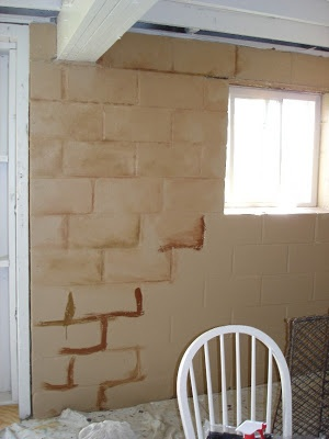 The Art of the Home: turning a cinder block wall into a faux stone wall