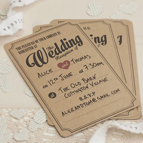 10 Vintage Affair WEDDING RECEPTION INVITATIONS Ginger Ray BROWN Party EVENING