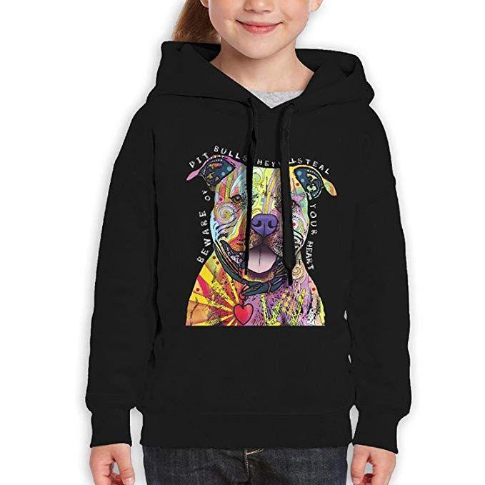 Starcleveland Teenager Pullover Hoodie Sweatshirt Colorful Pitbull Teens Hooded Boys Girls