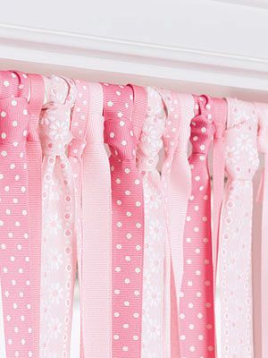 Let spring breeze into a child's room through a fluttery curtain made of ribbon. You'll need a tension rod and about 10 yards each of five different ribbons (the amount will vary depending on window size). Cut the ribbons a few inches longer than you need in order to reach the sill, then tie each length onto the rod in a necktie knot. Alternate colors or patterns. Trim to fit.  - GoodHousekeeping.com