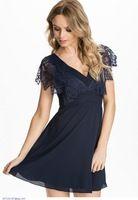 Blue V-Neck Lace Chiffon Skater Dress LC21841